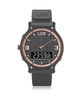 UPWATCH DOUBLE STEEL GUN METAL ROSE - DB.02.03