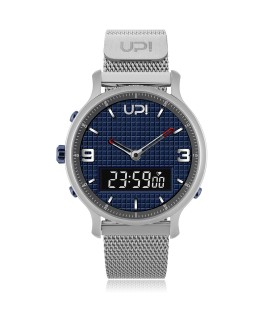 UPWATCH DOUBLE STEEL SILVER IP BLUE - DB.02.05