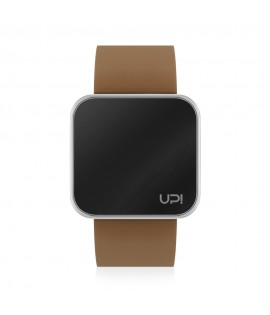 UPWATCH TOUCH SLIM SHINY SILVER & BROWN